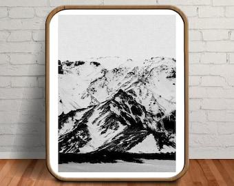 Mountain Print, Printable Mens Gift, Icelandic Photography, Iceland, Black Minimalist, Iceland Print, Mountain Photography, Mountains