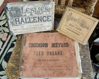 Shabby Primitive Antique Earthtone Late 1800's Hym Books from Rustysecrets