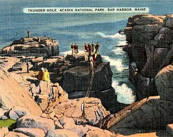 Vintage Maine Postcard - Thunder Hole in Acadia National Park, Bar Harbor (Unused)