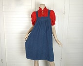 Denim Jumper Dress with Red Calico- 1970s / 70s Smock Dress- Maternity