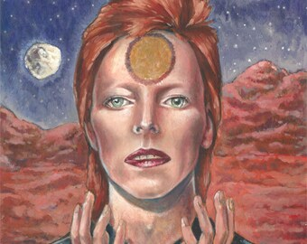 Life on Mars? David Bowie Portrait Print, David Bowie art, Ziggy Stardust, Aladdin Sane, bowie art, music art, david bowie, life on mars