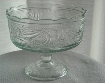 vintage E. O. Brody Co. pressed glass pedestal bowl circa 1970's