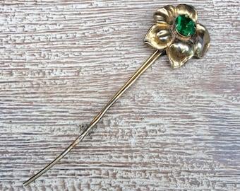 Vintage Flower Brooch Vermeil Sterling Silver Green Rhinestone