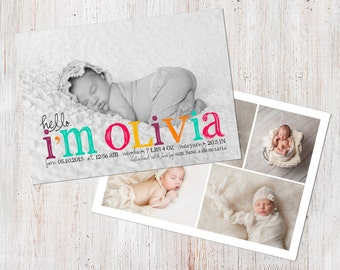 Birth Announcement Template, Birth Announcement Girl, Baby Announcement Template, Photography Templates, Photoshop Template, Digital, Olivia