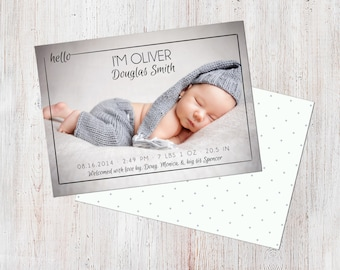 Birth Announcement Template, Birth Announcement Boy, Baby Announcement Template, Photography Templates, Photoshop Template, Digital, Oliver