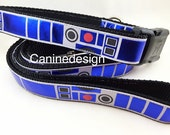 Dog Collar and Leash, R2D2, 6ft leash,1 inch wide, adjustable, quick release, metal buckle, chain, martingale, hybrid, nylon