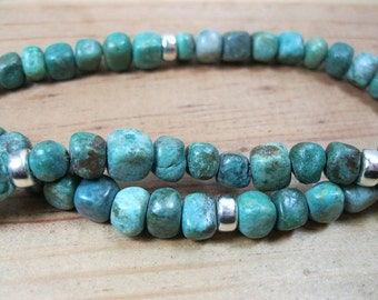 Turquoise, Sterling Silver Necklace, Native American Necklace, Ethnic Necklace, Mens Turquoise Necklace, Mens Turquoise Choker
