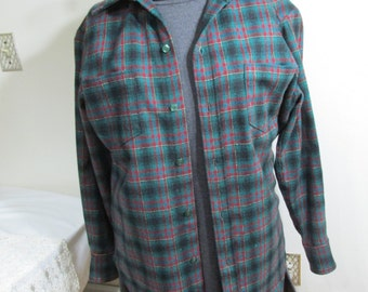 Vintage Wool Shirt Tartan Green Plaid