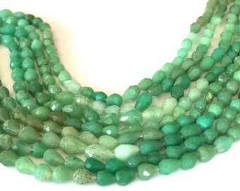 Chrysoprase tint faceted drops full 14inch strand shaded green Australian chrysoprase