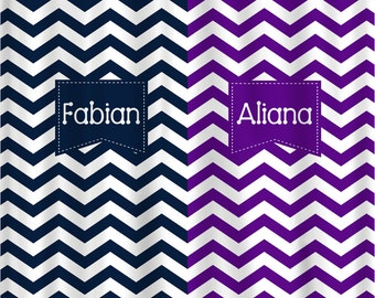 Personalized Shower Curtain - Navy and Purple -Shared Curtain - Monogram Frames - ANY Two colors with white accent