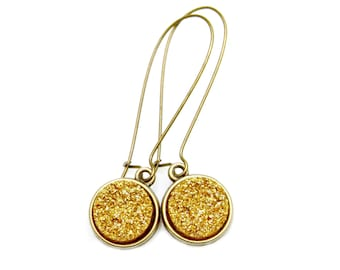 SUMMER SALE Gold Druzy Earrings Gilt Druzy Gold Dangles Bright Sparkle Shimmer Luster Rich Everyday High Fashion Style by Mei Faith