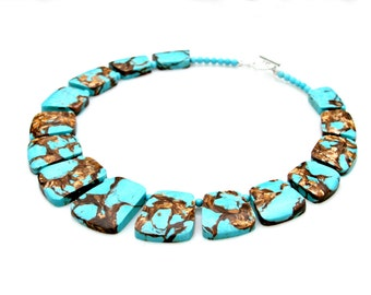 Goddess Necklace Turquoise Gold Copper Bornite STATEMENT Necklace Tribal Flare African Godess Boho Chic High Fashion Style Mei Faith