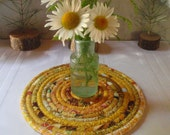 Bohemian Coiled Gold Hot Pad, Trivet, Table Mat - Small Round - Handmade by Me