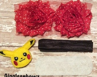 DIY Headband Kit- Pokemon Headband Kit- Makes 1 headband, Do it Yourself- Feltie Pikachu Headband- Baby Headband Kit- DIY Supplies