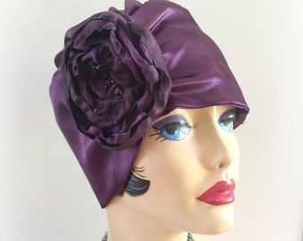 Satin Turban, Eggplant Turban, Aubergine Hat, Lightweight Soft Cloche, Silky Turban, Chemo Hearwear, Handmade in the USA, TheWaughdrobe
