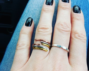Minimal stacking rings Three rings Simple minimalist rings Stainless steel rings Copper rings Stackable ring Womens gift Friendship rings
