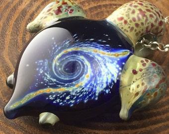 Silver Galaxy Turtle Pendant w/ frit