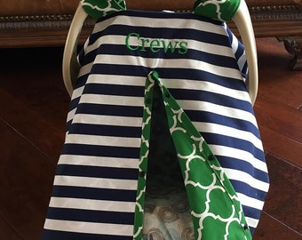 Baby Car Seat Cover - Navy 1 inch Stripe with Green Quatrafoil - All Cotton - Baby Boy - Canopy Cover