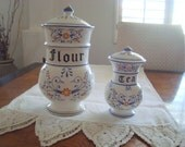 Vintage Flour & Tea Royal Sealy Heritage China Cannisters Set of 2