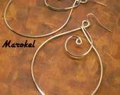 RESERVED Kuchina Copper Earrings curved silver wire wrapped Minimalist Abstract