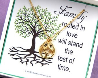 Personalized Family Tree Necklace - Tree of life Initial Necklace Hand Stamped Necklace,  Gold Tree Necklace, Children's initials