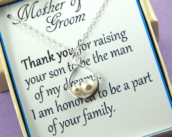 Mother Of The Groom Necklace, Mother in Law Gift, Mother of the Groom Gift, Sterling Silver Infinity Necklace