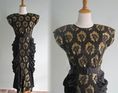 Vintage 1980s Dress - Stunning Gold Lace and Black Satin Cocktail Dress - 80s does 40s Gold and Black Evening Dress M