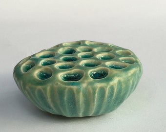 Turquoise Ceramic Holey Lotus Wall Art Pod with Blue Glass 2