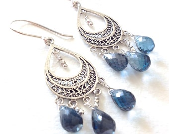 Blue Sapphire Sterling Silver Chandelier Earrings. OOAK Sterling Silver Sapphire Chandelier Earrings