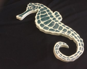 Carved Pottery Tile Coaster Seahorse Fish Sea Ocean