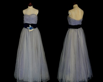 Original Vintage 1950s Blue Flocked Ballgown Prom Dress  - Small - FREE SHIPPING WORLDWIDE
