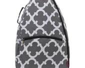 Personalized Tennis Racket Cover Bag Grey Quatrefoil Print