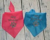Big Sister Big Brother Dog Bandana with Paw Print - Custom Colors