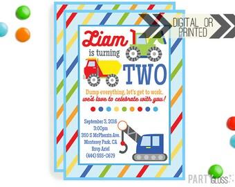 Construction Birthday Party Invitation - Digital or Printed  Construction Party  Construction Invite   Dump Truck Party   Dump Truck Invite