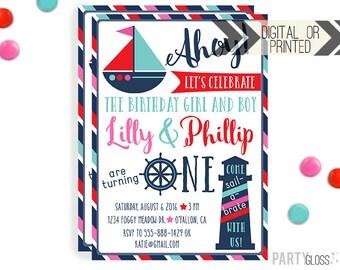 Boy Girl Twins Nautical Birthday Invitation | Digital or Printed |  Nautical Party | Holy Ship Invite |  Twins Invite |  Twins Invitation |