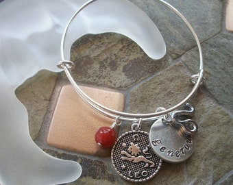Leo Adjustable Bangle - Zodiac Jewelry - What's Your Sign - Fire Element - Horoscope Bracelet