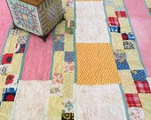 Vintage Quilt - Patchwork Stripe - Pink Yellow Vintage Fabrics - Cottage Cozy Country Decor - Pastel - Young Girl Decor - Collectible Quilt