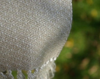 Handwoven scarf natural mulberry silk and silk/superfine merino/cashmere blend