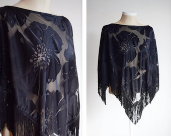 1980s Sheer Floral Cape - OSFM