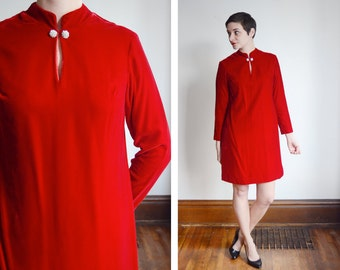 1960s Red Velvet Mini Dress - S/M