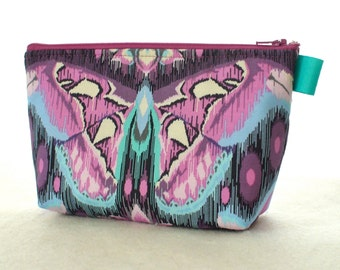 Tula Pink Fabric Large Cosmetic Bag Zipper Pouch Padded Makeup Bag Cotton Zip Pouch Eden Atlas Butterfly Moth Amethyst Purple Turquoise MTO