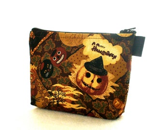 Retro Antique Fabric Cosmetic Bag Fabric Zipper Pouch Makeup Bag Zip Pouch A Merry Halloween Collage Jack o Lanterns Witch Thimbleberries