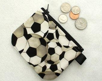 Soccer Balls Boys Girls Coin Purse Zipper Change Purse Coin Purse Football Black White Gray Handmade MTO