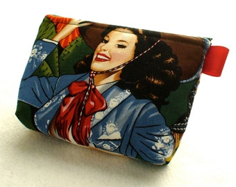La Senoritas Retro Pin-Up Girl Beautiful Latinas Fabric Gadget Pouch Small Cosmetic Bag Fabric Zipper Pouch Makeup Bag Alexander Henry