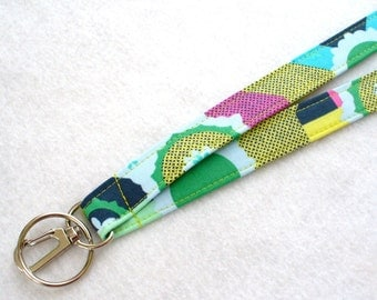 Modern Amy Butler Fabric Lanyard ID Badge Holder Breakaway Lanyard Key Ring Fob Glow Cross Roads Marine Blue Green Pink Navy