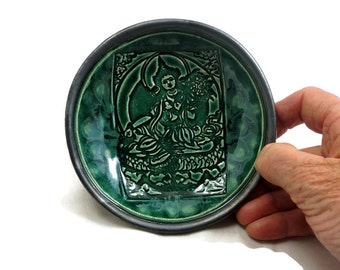 Green Tara Offering  Bowl Handmade  Ceramic Pottery