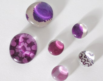 purple patterns magnet or push pin set - made from recycled magazines, stocking stuffer, hostess gift, graduation