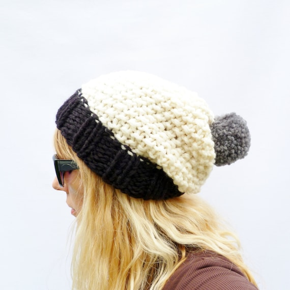 Chunky Knit Colour Block Slouchy Bobble Hat Black Cream and