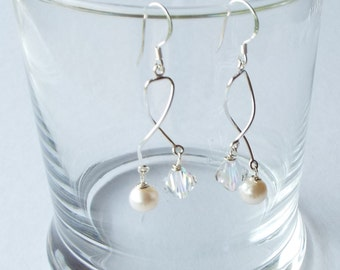 Swarovski crystal, freshwater pearl and sterling silver earrings