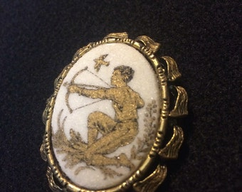 Vintage Brooch Boy with bow and arrow hunter 1017